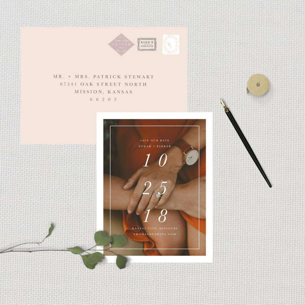 Modern Formal Vertical Date Photo Save the Date