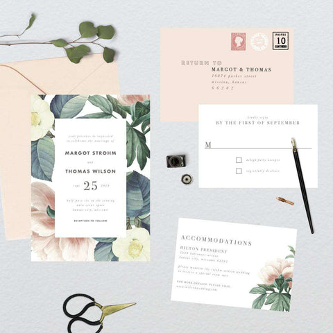 Vintage Botanical Border Wedding Suite