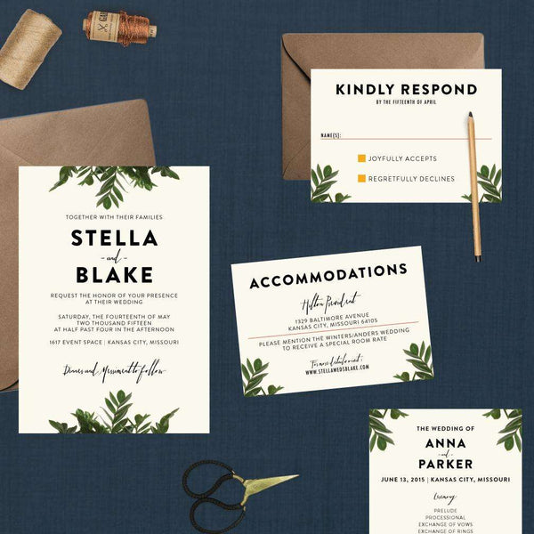 Modern Botanical Greenery Wedding Suite