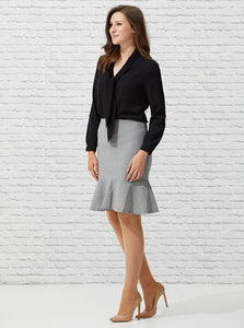 Flounced Dove Pencil Skirt