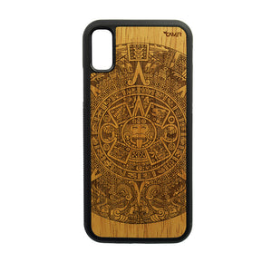 Carcasa Madera para iPhone XR - Calendario Azteca