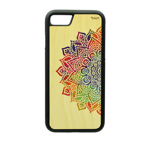 Carcasa Madera para iPhone 6 / 6S - Mandala Color
