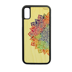 Carcasa Madera para iPhone X / XS - Mandala Color