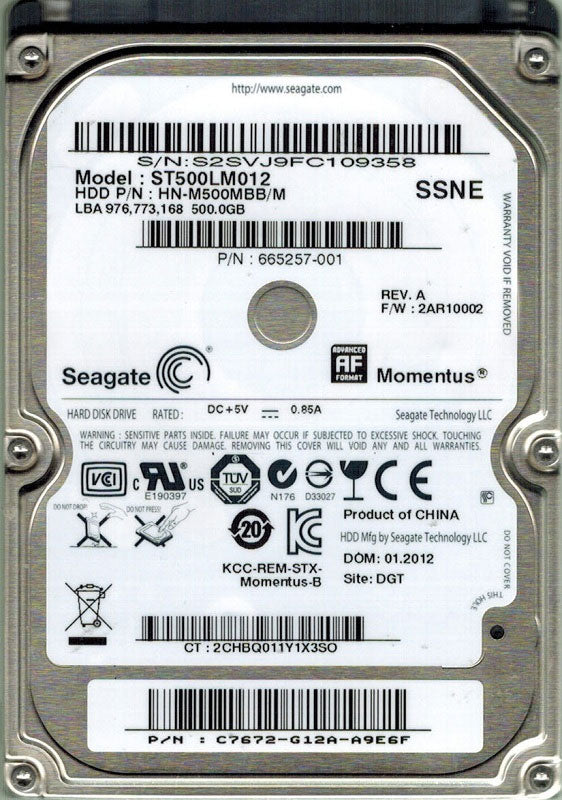 Compaq Presario CQ42-262VX Hard Drive 500GB Upgrade