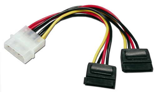 "4-pin Molex to Dual SATA Y Splitter 15-Pin Power Cable 6"" by Genius Cable"