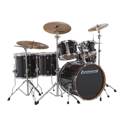 Ludwig Evolution Maple 7-Piece Drum Kit (22B+14FT+16FT+10T+12T+14S+Free 8inTom), Transparent Black