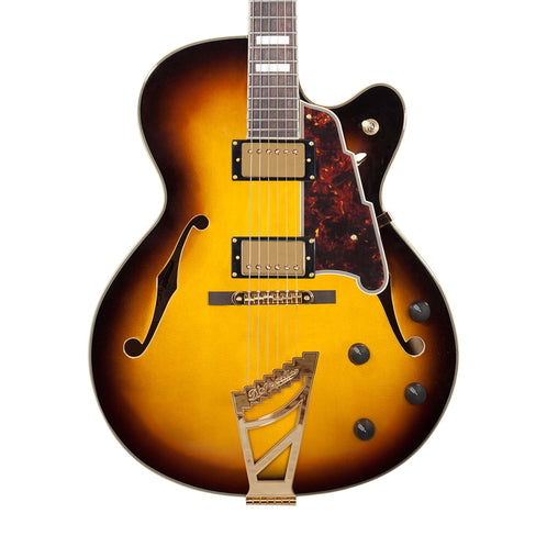 D'Angelico Excel DH Hollow-Body Electric Guitar w/Stairstep Tailpiece & Case, Vintage Sunburst