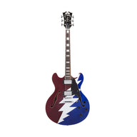 D'Angelico Premium Grateful Dead DC Semi-Hollow Electric Guitar, Red White & Blue