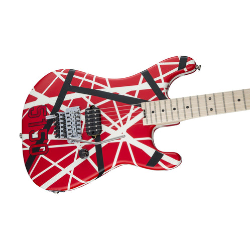 EVH Striped Series 5150 Electric Guitar, Maple FB, Red Black White Stripes