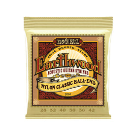 Ernie Ball Earthwood 80/20 Bronze Folk Nylon Classical Guitar Strings, 28-42