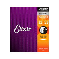 Elixir 11052 Nanoweb 80/20 Bronze Acoustic Guitar Strings 12-53