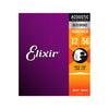 Elixir 11077 Nanoweb 80/20 Bronze Light-Medium Acoustic Guitar Strings 12-56