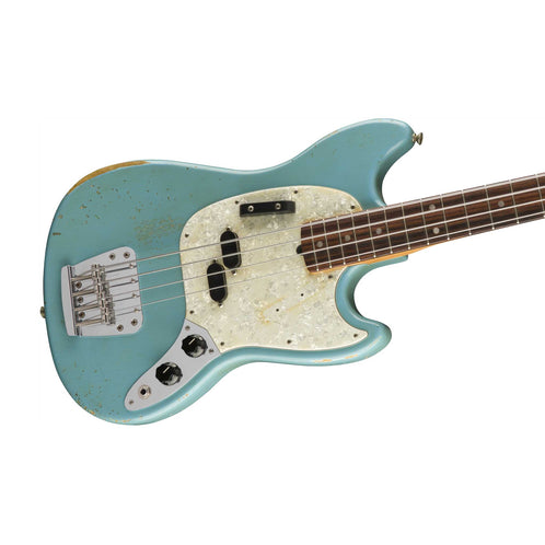 Fender Justin Meldal-Johnson Road Worn Mustang Bass Guitar, Faded Daphne Blue