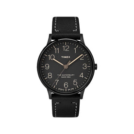 Timex The Waterbury Classic 40mm Leather Strap Watch, Black