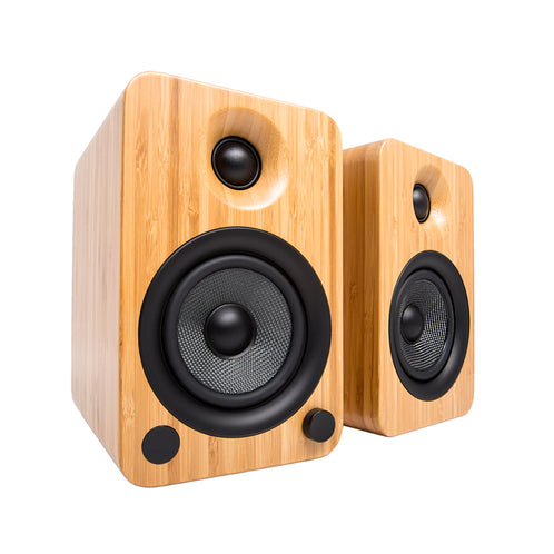 Kanto YU4 Powered Speakers with Bluetooth and Phono Preamp, Bamboo