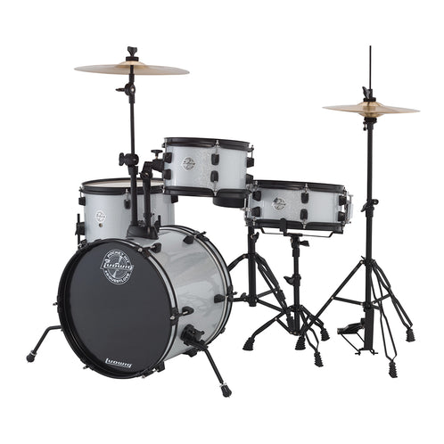 Ludwig LC178X029DIR Pocket Kit 4-Piece Drum Kit w/Hardware+Cymbals, White Sparkle