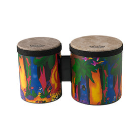 Remo KD-5400-01 5 & 6inch Kids Percussion Bongo Drum, Fabric Rain Forest