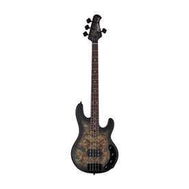 Sterling by Music Man Ray34 Poplar Burl Top 4-String Bass Guitar, Trans Black