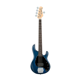 Sterling S.U.B Series RAY5 5-String Electric Bass Guitar, RW FB, Trans Blue Satin