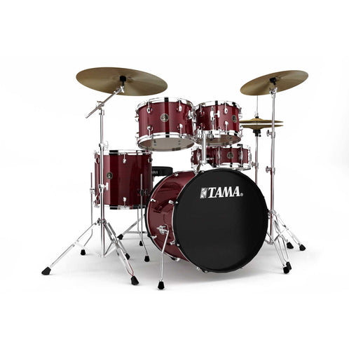 TAMA RM50YH6C-RDS Rhythm Mate 6-Piece Drum Kit w/Hardware and Cymbals, Red Stream