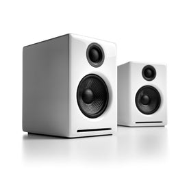 Audioengine A2+ Wireless Powered Desktop Speakers, Hi-Gloss White (Pair)