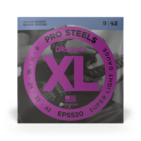 D'Addario EPS520 ProSteels Electric Guitar Strings, Super Light, 9-42