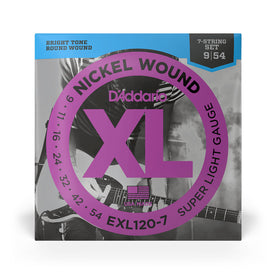 D'Addario EXL120-7 Nickel Wound Electric Guitar Strings, 7-String, Super Light, 9-54