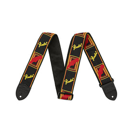 Fender 2 Inch Monogrammed Strap, Black/Yellow/Red