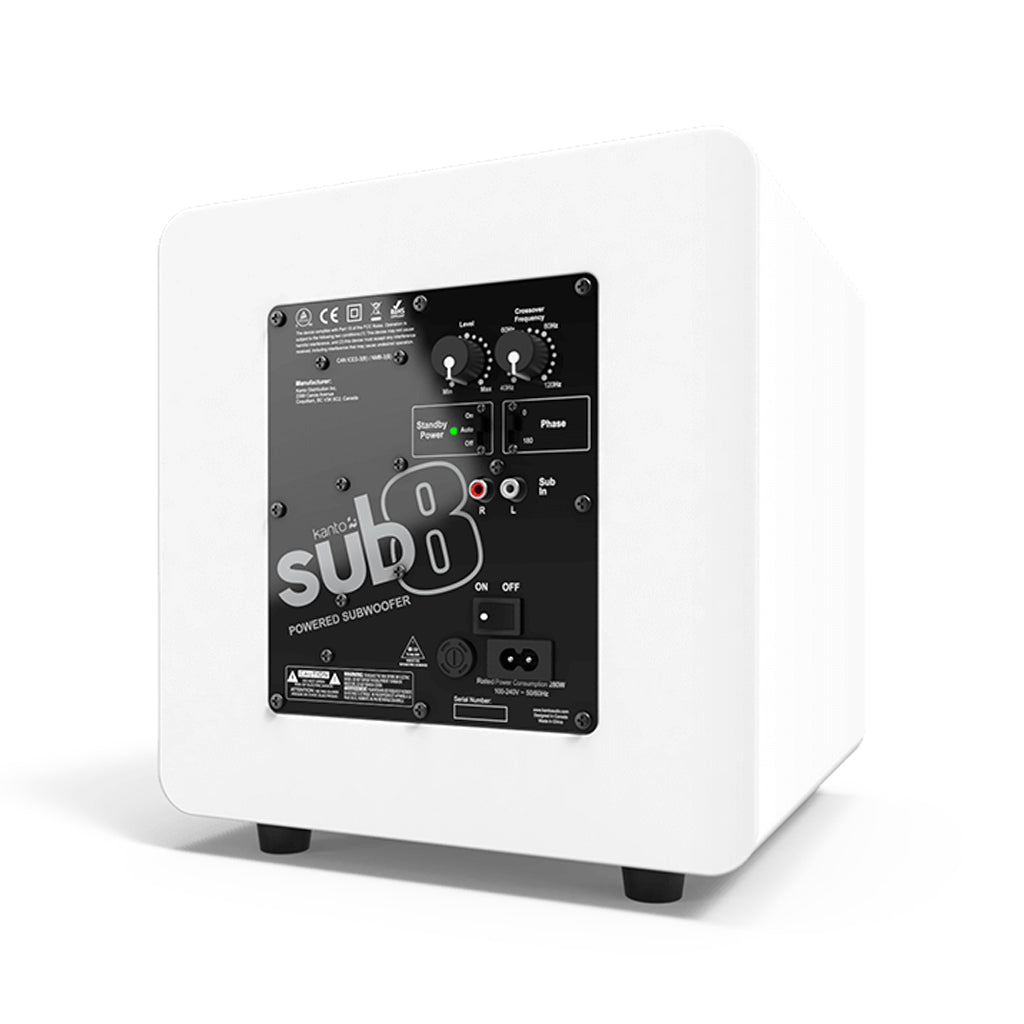 SUB8 Powered Subwoofer SUB8MW Kanto Matte White