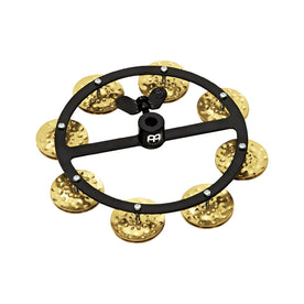 MEINL Percussion HTHH1B-BK Headliner Series Hihat Tambourines, 1 Row, Hammered Brass Jingles