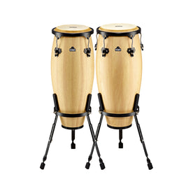 NINO Percussion NINO910-NT 9 & 10inch Wood Conga Set w/Stand , Natural
