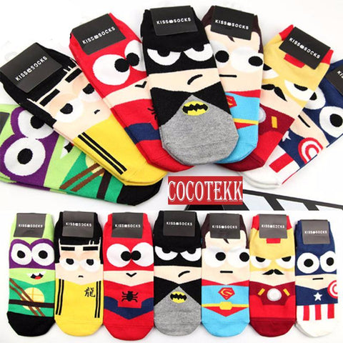 3D fashion Super Heroes Print Ankle Socks