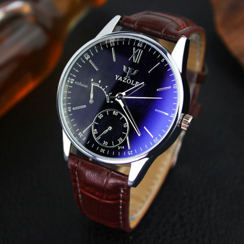 Suave's YAZOLE Watches Men Luxury Brand Waterproof Analog Stainless Steel Leather Casual Business