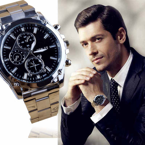 Suave's Stylish Business Man Stainless Steel Band Machinery Sport Quartz Watch