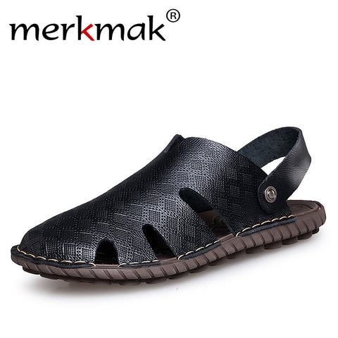 Merkmak Big Size Men Sandals Summer Fashion Men Casual Sandals Genuine Leather Slip On Sandalias Beach Water Men Shoes Slides