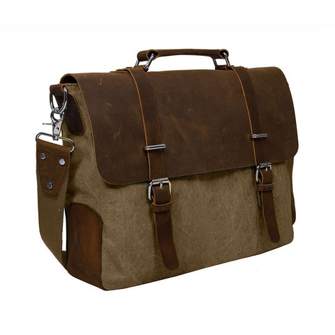 "Suave ECOSUSI Vintage Canvas Leather 14.7"" Laptop Messenger Bag Men Satchel Briefcase"