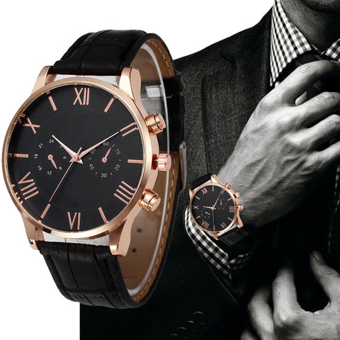 Suave's Retro Design Men's Watches - Top Brand Luxury Men's Quartz Watch Leather Band Analog Alloy Wrist Watch Black Brown