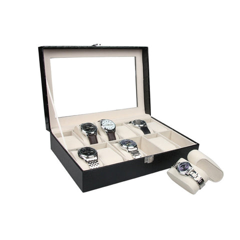 Suave's High Quality Watch Box  Storage Case with Lock and Mirror
