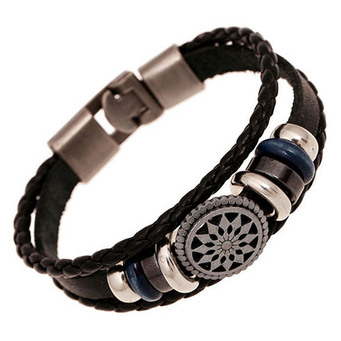 Suave's - Bluelans Hot Men's Ethnic Faux Leather Infinity Cuff Buckle Bangle Charm  Bracelet