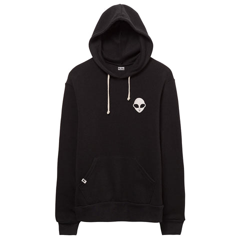 Embroidered Eco-Fleece <br>Black Unisex Pullover Hoodie