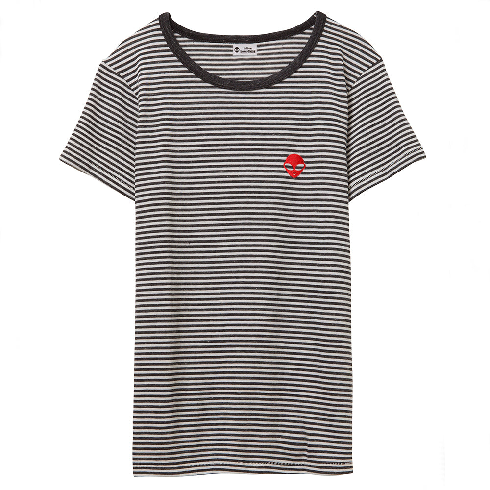 Embroidered Eco-Jersey<br>Black-Striped Women's T-Shirt