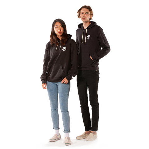 Embroidered Eco-Fleece<br>Black Unisex Pullover Hoodie