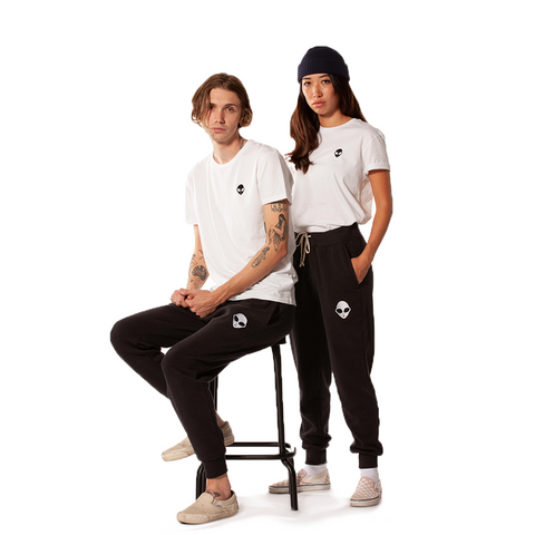 Embroidered Eco-Fleece <br>Black Unisex Sweatpants