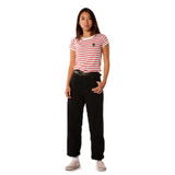 Embroidered Eco-Jersey <br>Red-Striped Women's T-Shirt
