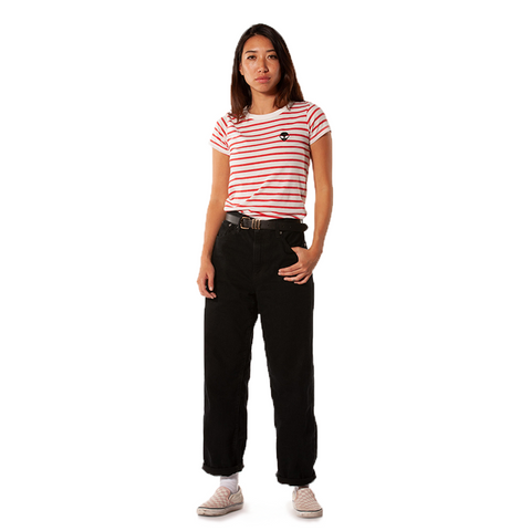 Embroidered Eco-Jersey<br>Red-Striped Women's T-Shirt