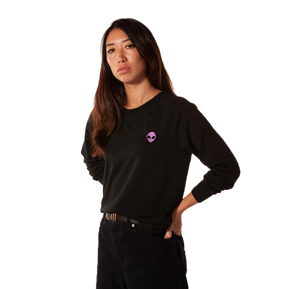 Embroidered French Terry<br>Black Women's Sweatshirt