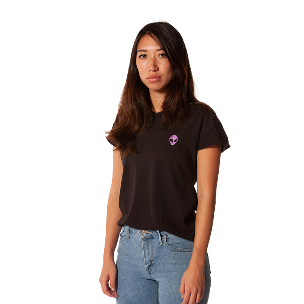 Embroidered 100% Cotton <br>Black Women's T-Shirt
