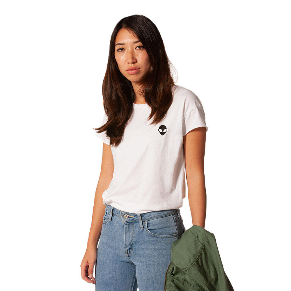 Embroidered 100% Cotton <br>White Women's T-Shirt