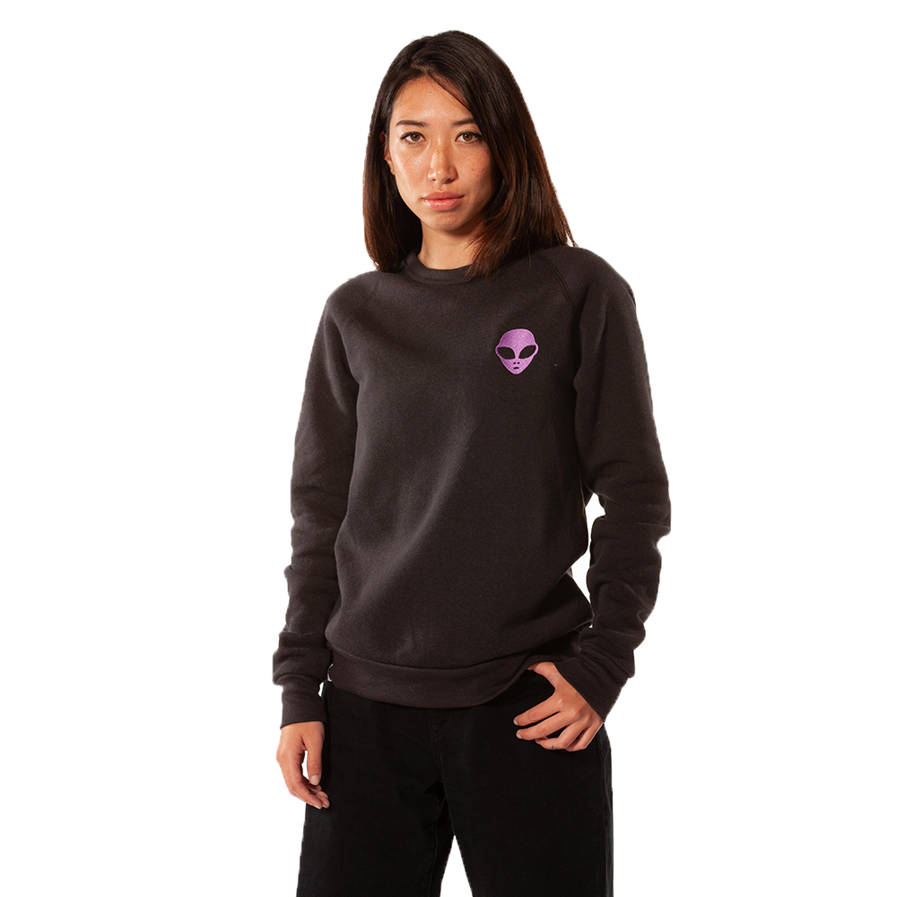 Embroidered Eco-Fleece <br>Black Unisex Sweatshirt