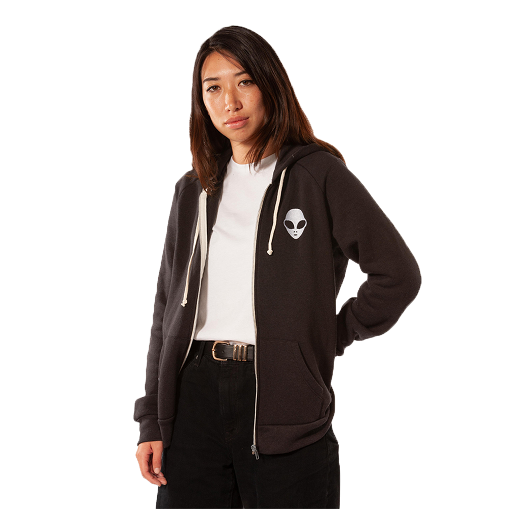 Embroidered Eco-Fleece <br>Black Unisex Zip-Up Hoodie